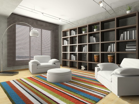 hassock: Home interior of drawing-room 3D rendering
