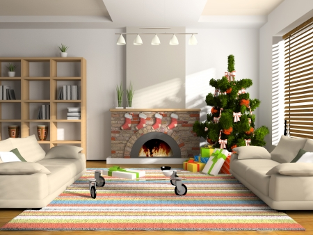 Christmas interior 3D rendering. You can hang your illustration over the fireplace Stock Photo