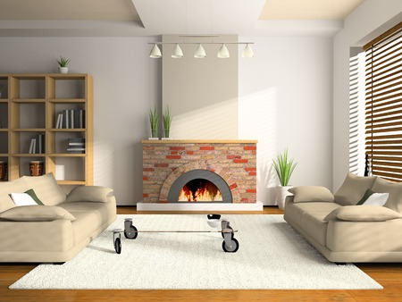 cane sofa: Home interior 3D rendering. You can hang your illustration over the fireplace