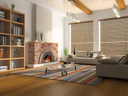 cane sofa: Interior of drawing-room with fireplace 3D rendering Stock Photo