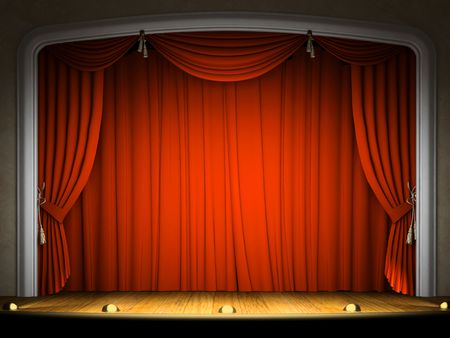 Empty stage with red curtain in expectation of performance