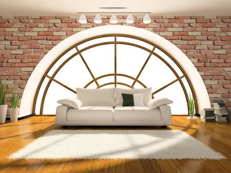 Interior of attic 3D rendering. You can add different background behind the window