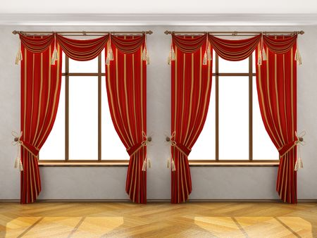 portiere: Interior with two big windows and red elegant portiere. You can add different background behind the windows Stock Photo