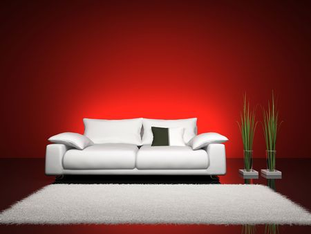Fashionable interior with red wall 3D rendering. You can hang image you want on wall