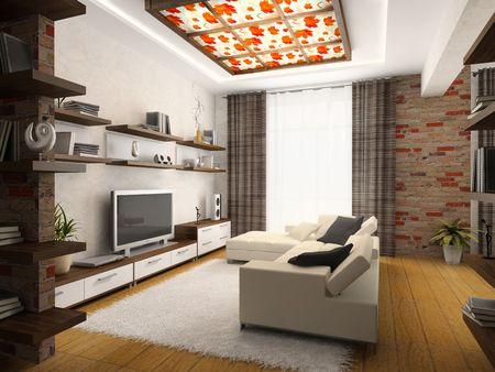 Innenansicht der modernen Salon 3D-Rendering
