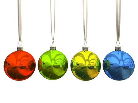 Multicolored christmas balls isolated on white background photo