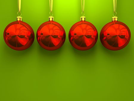 Red christmas balls on green background 3D rendering Stock Photo - 1894502