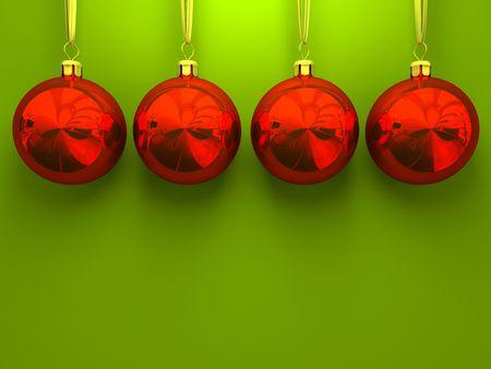 Red Christmas Kugeln auf gr�nem Hintergrund 3D-Rendering Lizenzfreie Bilder