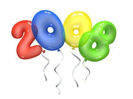 Colour air balloons 2008 on white background photo
