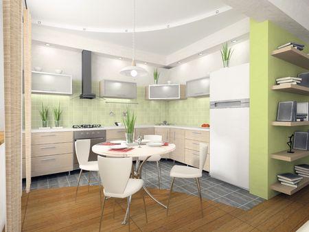 serviette: Interior of modern kitchen 3D rendering