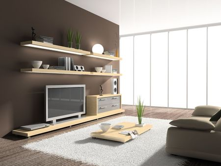 tvset: Interior of modern drawing-room. You can add different background behind the window Stock Photo