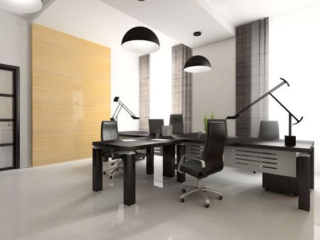 Interior of the cabinet in office 3D rendering.