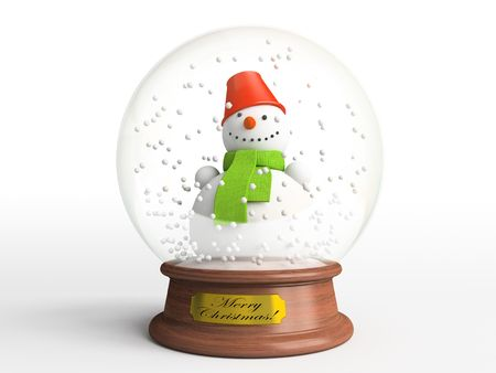 Smiling snowman in snow globe - the best present for Christmas photo