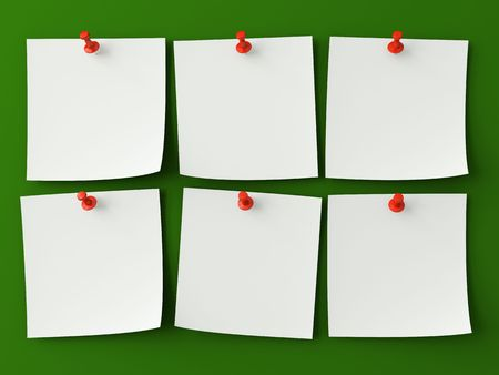 six: Sticker notes isolated on the green background