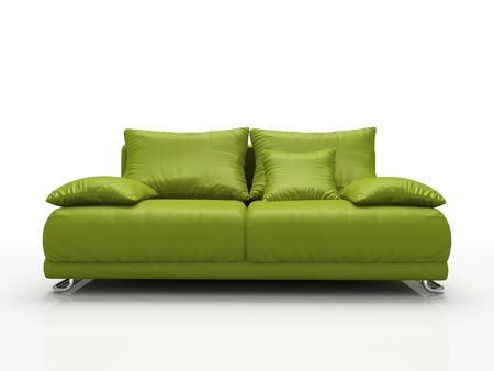 comfy: Green leather sofa isolated on white background