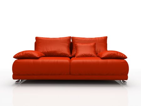 comfy: Red leather sofa isolated on white background