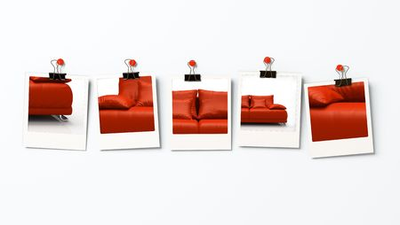 blanks: Five photo blanks with different parts of red sofa Stock Photo