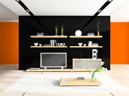 Fashionable home interior 3D rendering Stock Photo - 2160234