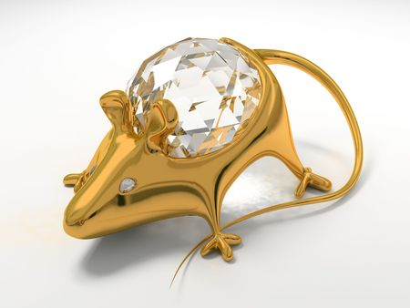 briliance: Gold jewelry decoration mouse with diamond saphire Stock Photo