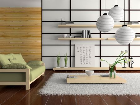d: Home interior in japanese style D rendering