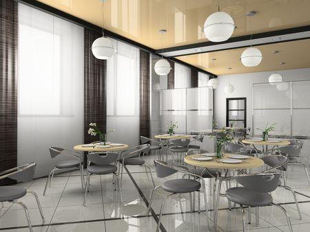 bistro: Interior of modern bistro (cafe) 3D rendering