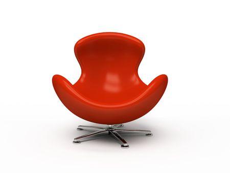 Leder rot Sessel isoliert auf wei�em Hintergrund 3D-Rendering