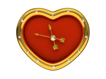 Red Clock-Heart isolated on white background 3D photo
