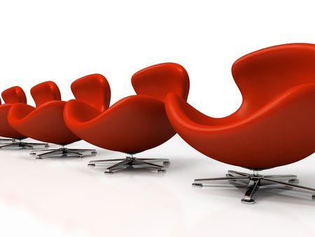 Leather red armchairs isolated on white background 3d rendering photo