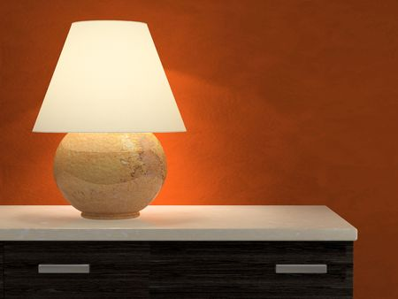 lamp shade: Lamp and red wall 3D rendering