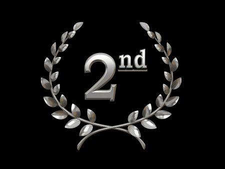 Plata símbolo de la victoria (segundo lugar) 3D