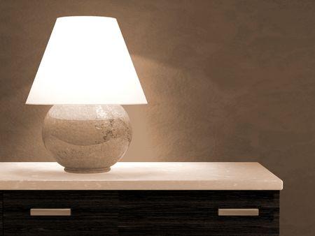 bureau: Lamp on bureau 3D rendering
