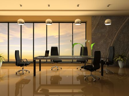 negotiations: Interior of the modern cabinet for negotiations 3D rendering