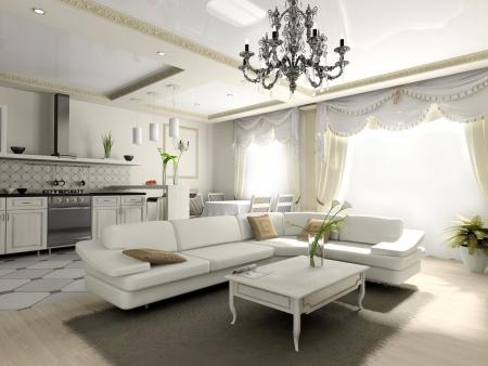 Interieur der Wohnung im klassischen Stil 3D-Rendering