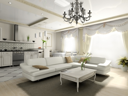 Interior of the apartment in classic style 3D rendering Stock Photo