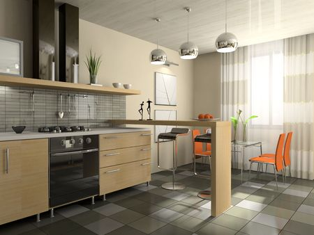 kitchen tile: Interior of fashionable kitchen 3D rendering