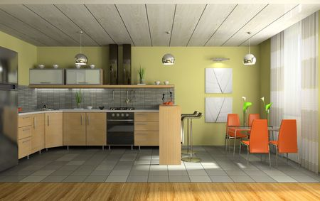 comfort food: Interior of fashionable kitchen 3D rendering