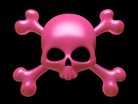 Pink skull isolated on black background photo