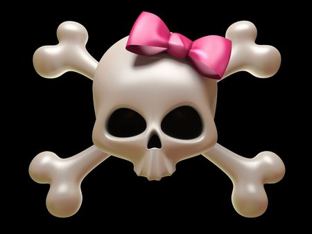 Skull with pink bow isolated on black background photo