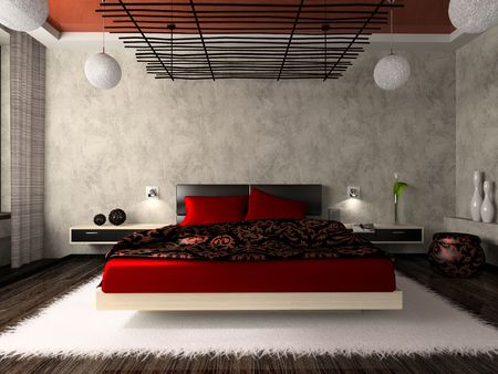 luxurious: Luxurious bedroom in red 3D rendering