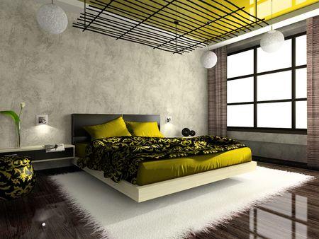 Luxuri�ses Innere Schlafzimmer in gr�ner Farbe. Foto im Magazin wurde von mir, ich hochgeladen Modell  's Release