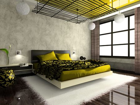 was: Luxurious interior of bedroom in green colour. Photo in magazine was made by me, I uploaded models release