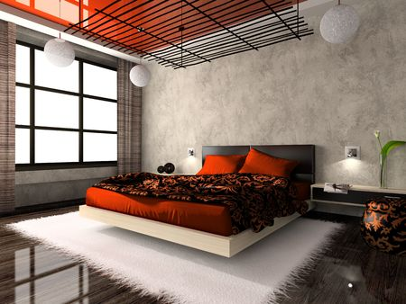 was: Luxurious interior of bedroom in red colour. Photo in magazine was made by me, I uploaded models release Stock Photo