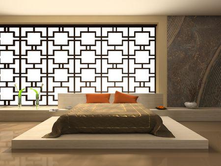 Luxurious interior of modern bedroom 3D rendering