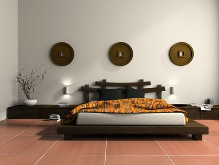 bedroom: Modern bedroom in  ethnic style 3D rendering Stock Photo