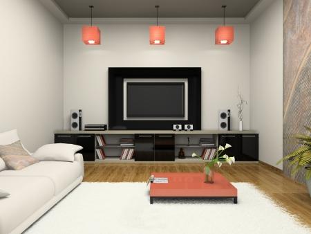 home theater: Moderna sala witn home theater rendering 3D