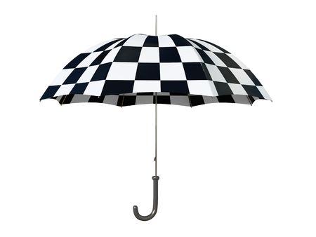 Black and white umbrella isolated on white background photo