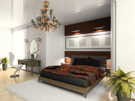 Modern bedroom 3D photo