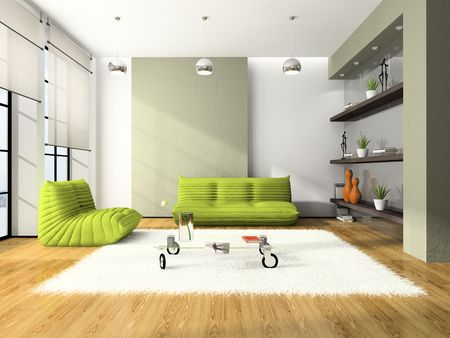 Modern interior with green sofas and white carpet 3D