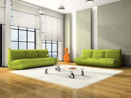 furnishing: Modern interior with green sofas and white carpet