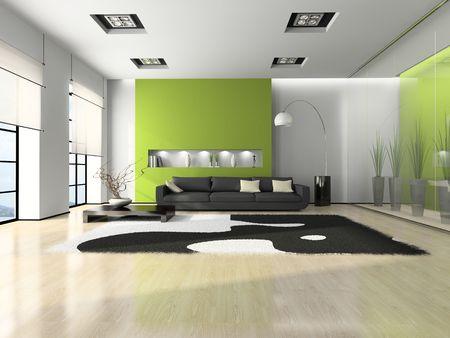 Modernes Interieur mit Sofa und wei�en Teppich 3D  Lizenzfreie Bilder
